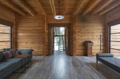 Diseño de interiores de casa de madera