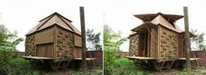 Foto de casa de bambú cerrada y abierta